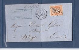 FRANCE 23 OBL GC 3970 TONNEINS LOT ET GARONNE POUR BLAYE GIRONDE - Marcophilie (Lettres)