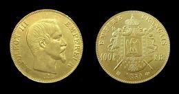 COPIE - 1 Pièce Plaquée OR Sous Capsule ! ( GOLD Plated Coin ) - France - 100 Francs Napoléon III Tête Nue 1859 BB - France