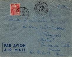 1951 - Lettre D'Indochine  PAR AVION En F.M. Pour Le Canada Affr. N° 813 Seul ( Taxe Avion ) - 1921-1960: Modern Period