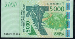 W.A.S. TOGO P817Tp 5000 FRANCS (20)16 2016 Signature 42 UNC. - West-Afrikaanse Staten