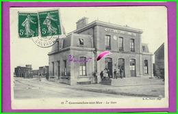 CPA (14 Calvados) COURSEULLES SUR MER - La Gare Vue De L'Extérieur - Animé  Chemin De Fer De Caen à La Mer Oblitéré 1913 - Courseulles-sur-Mer