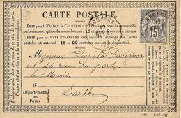Sans Date - Carte Précurseur Affr. 15 C Sage  Oblit. Cad Conv. Stat  De  SOUPPES  -   NEV. F - Storia Postale