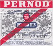 ANCIENNE ETIQUETTE  PERNOD FILS SPIRITUEUX Absinthe ANISE ALCOOL  40 ° - LONDRES NEW YORK PARIS SYDNEY TOKOY - Autres