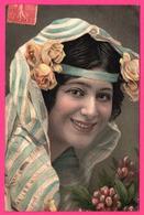 Magnifique Portrait De Femme - Voile - Roses - Algérienne ?? - Edit. K.F. - Oblit. St LATTIER ( 38 ) 1906 - Colorisée - Femmes