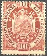 Bolivia -  1894 Arms 100c Bright Rose Thick Paper MH  Sc 46 - Bolivia