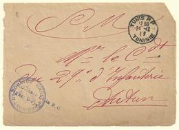 Tunisie 1917, Devant Sur Enveloppe Réutilise - Tunisia (1888-1955)
