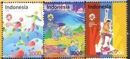 INDONESIA, 2018, MNH, 18th ASIAN GAMES, CYCLING, STADIUMS, BRIDGES,3v - Cycling