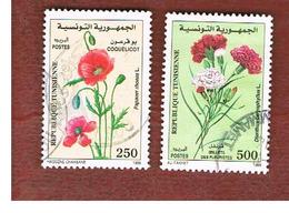 TUNISIA - SG 1416.1417  -    1999  FLOWERS   - USED ° - Tunisia (1956-...)