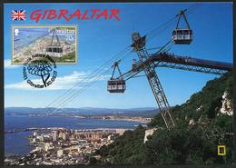 GIBRALTAR (2017). Carte Maximum Card - Cable Car, Harbour, Teleferico, Aerial Lift - Upper Rock Nature Reserve - Gibraltar