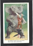 CPA éléphant Position Humaine Humanisé Singe Monkey Non Circulé - Elephants