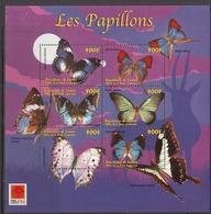 2001 Guinee Guinea Butterflies Papillons Souvenir Sheet  BARGAIN! *staple Holes UPPER LEFT OF SHEET*  Stamps Perfect - Farfalle