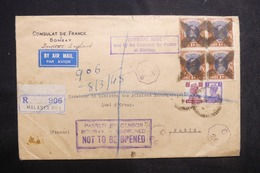 INDE - Enveloppe Du Consulat De France De Bombay En 1945 En Recommandé Pour Paris Avec Cachet De Censure - L 42031 - India (...-1947)