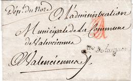 LSC En Franchise Du Ministre De La Guerre Pour Valenciennes Avec Paraphe De Vérification (vers 1793) - 1701-1800: Precursori XVIII