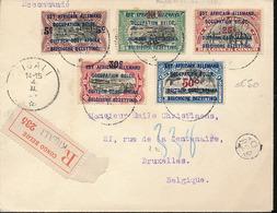 RUANDA URUNDI 1922 ISSUE ON REGISTERED COVER FROM KIGALI 1924 VIA BUKOBA AND MOMBASA TO BRUSSELS - Ruanda-Urundi