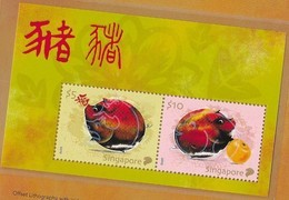 SINGAPORE, 2019, MNH, CHINESE NEW YEAR, YEAR OF THE PIG, COLLECTOR'S SOUVENIR SHEET IN FOLDER - Chinese New Year