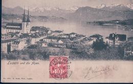 POSTAL SUIZA - LUZERN UND DIE ALPEN - 1584 E GOETZ - LU Lucerne