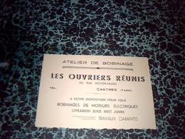 Publicité Carte De Visite Atelier De Bobinage Les Ouvriers Réunis à Castres - Cartes