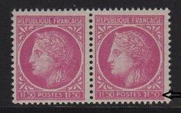 Ceres De Mazelin - N°679 - Variete 5 De 1f50 Obstrué Tenant à Normal - ** Neuf Sans Charniere - 1945-47 Cérès De Mazelin