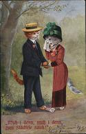 AK/CP Katzen Cats Liebespaar  Abschied Vermenschlicht     Gel./circ.  1912   Erhaltung/Cond. 2    Nr. 00849 - Cats