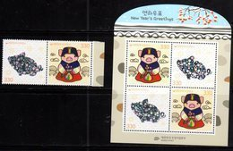 SOUTH KOREA, 2019, MNH, YEAR OF TH PIG,2v+SHEETLET , SILVER FOIL STAMPS - Chinese New Year