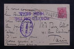 """ROYAUME UNI - Oblitération Maritime Du Paquebot """" Avon """" Sur Carte Postale Du Brésil En 1908 Pour Paris  - L 42053 - Postmark Collection"""