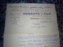 Facture Document Comercial Denaiffe Et Fils à Carignan Graines En Gros Année. 1925 - Agriculture