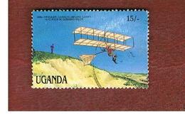 UGANDA   - SG 572  -  1987 MILESTONES OF TRANSPORTATION: CHANUTE BIPLANE GILDER     - USED ° - Uganda (1962-...)