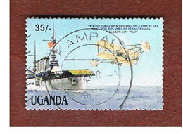 UGANDA   - SG 574  -  1987 CURTIS BIPLANE % USS SHIP PENNSYLVANIA      - USED ° - Uganda (1962-...)