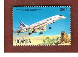UGANDA   - SG 576  -  1987 MILESTONES OF TRANSPORTATION: CONCORDE     - USED ° - Uganda (1962-...)