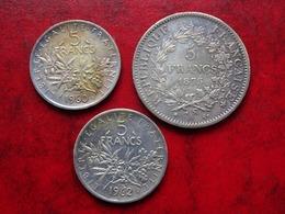 France : 3 Pièces :5 F 1875A       5 F 1960   5F1962 - Francia