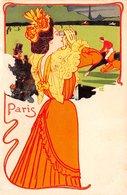 Illustrateur - N°60154 - CH, Genre Kirchner - Paris - Jeune Femme Suivant Une Course De Chevaux - Vendu En L'état - Illustrators & Photographers