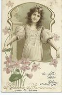 Heureux Anniversaire Jeune Fille Et Fleurs - Birthday