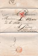 Pli En Port Payé De Dijon Pour Le Maire De Sedan (1830) Avec Marque Rouge De Vérification D'affranchissement - 1801-1848: Precursori XIX