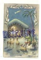 Joyeux Noël. Crèche, Petit Berger, Pipeau, Moutons. 1949. Signée Bertiglia - Bertiglia, A.