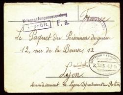 """LETTRE  A """"LE PAQUET DU PRISONNIER A LYON- DIVERS TAMPONS DONT UN RARE TAMPON OVALE DES AMBULANTS- 2 SCANS - Weltkrieg 1914-18"""