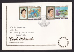 Cook Islands: First Day Cover To Netherlands, 1993, 3 Stamps, Sea Star, Rainbow Fish, Rare Real Use (traces Of Use) - Cook
