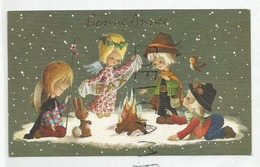 Carte De Vœux. Bonne Année. 3 Enfants Et Un Ange Autour D'un Feu De Camp. Lapin Et Oiseau. - Nouvel An
