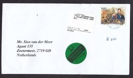 Chile: Priority Cover To Netherlands, 2019, 1 Stamp & ATM Label, Battle, War History, Round-shaped Label (traces Of Use) - Chili