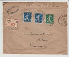 Lettre Chargée De MARCILLAC  Avec 140 Bleu-noir Et 137 Pour Commentry TB - Poststempel (Briefe)