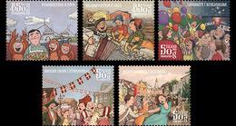 Island Islande 1353/57 Fêtes Locales, Homard, Hareng, Accordeon - Musica