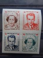 1949- MONACO Y&T N° 334B à 337B ** - PRINCESSE CHARLOTTE & PRINCE RAINIER III AU PROFIT CROIX ROUGE - Neufs