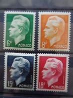 1951- MONACO Y&T N° 365 à 368 * - PRINCE RAINIER III - Monaco
