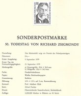 1673q: Österreich 1979, R. Zsigmondy, Chemie- Nobelpreis 1925, Schwarzdruck+ Belege+ Scan - Nobelprijs