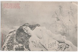 ILLUSTRATEUR BERGERET. NANCY (54) BONNE ANNEE . EROTISME. FEMME SENSUELLE.1904. - Bergeret