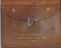FreeMasonry, Vrijmetselarij, Franc-Maçonnerie,old Masonic Leather Briefcase Haberdashers Old Boys Lodge, COLLECTORS!!!!! - Religion & Esotericism