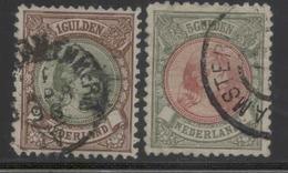Wihelmine :  1 Gulden Et 5 Gulden     Yvert N° 46 Obli, 48 Obli. - Usati