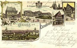 OSNABRÜCK, Mehrbildkarte, Bahnhof, Rathaus, Gasthof Walhalla (1898) Litho-AK - Osnabrueck