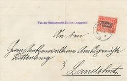Volksstaat Bayern Gendarmerie-Station Langquaid Dienstbrief Nach Landhut 15 Pfg 1919 - Storia Postale