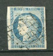 14455 FRANCE N°4f ° 25c. Bleu Clair  Cérés   1850  B/TB - 1849-1850 Ceres