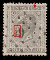 COB 17 - Obl. Losange De Points - Bureau N° 66 (BURDINNE ) Papier Epais + Variété(s) - 1865-1866 Profile Left